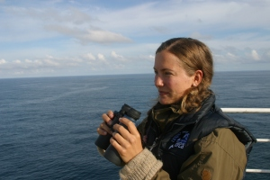 Grethe searches for dolphins off the coast of Newcastle