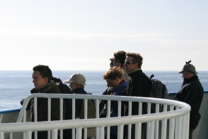 Guests onboard the DFDS ferry look out for porpoises