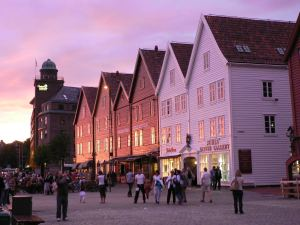 The beautiful medieval Bryggen at sunset