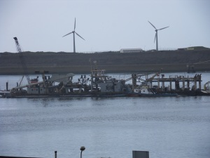 This is a picture of the dredger as we approach the dock in IJmuiden