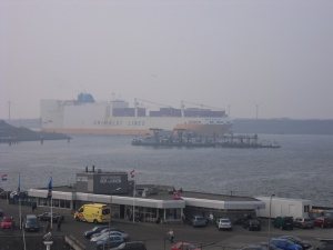 One of the many large cargo ships.