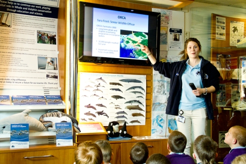 Sara talking to the children about surveying for whales and dolphins!