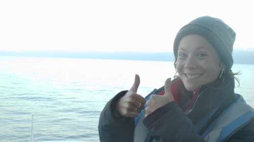 Me, ecstatic after seeing 4 minke whales in an evening.