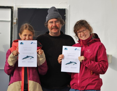 Lisa, Tamara and their father after seeing harbour porpoises