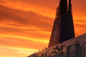 DFDS funnel in the sunset