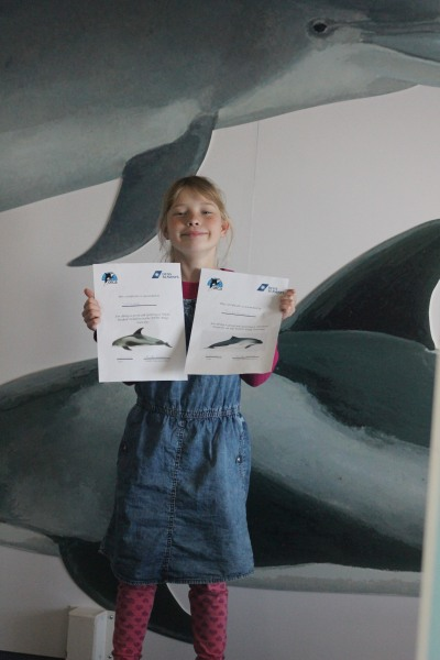 10 year old Johanna showing her sighting certificates