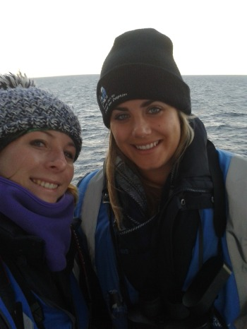 Ruth (left) & Rachael (right) during one of our last deck watches of the season!